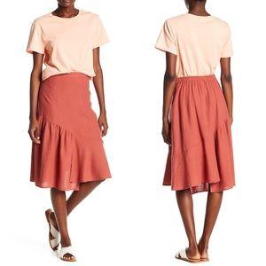 Rust Asymmetrical Hem Linen Skirt XL